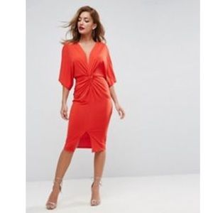 ASOS Plunge Knot Midi Dress